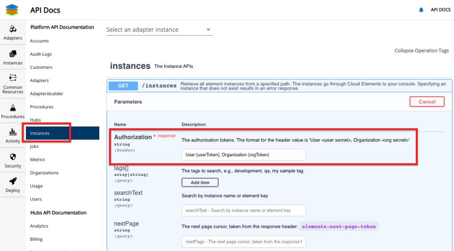 Instances API Docs